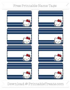 Free Navy Blue Horizontal Striped  Hello Kitty Name Tags
