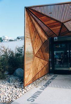 Espaces & Architecture Blue Ocean Robata and Sushi Bar, Carlsbad - California by Bells & Whistles Restaurant Exterior, Exterior Signage, Restaurant Interior Design, Interior And Exterior, Wall Exterior, Restaurant Ideas, Restaurant Restaurant, Cottage Exterior, Luxury Interior
