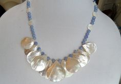 Mother of Pearl Fan Shell Blue Chalcedony Cream Coin Beaded Beachy Wedding Necklace by ThenThereWereThree on Etsy
