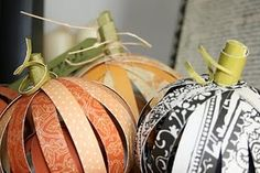 paper strip pumpkins: Can use Christmas scrapbook paper and make ornaments!