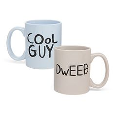 "A pair of massive and mathematical mugs that look just like the pair that Jake and Finn drink from in the Adventure Time episode ""Card Wars"""