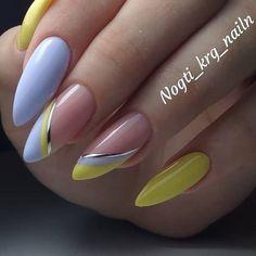 Acrylic Nails Coffin Short, Almond Acrylic Nails, Best Acrylic Nails, Classy Nails, Fancy Nails, Stylish Nails, Yellow Nails, Pink Nails, Almond Nails Designs