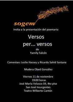 This is the invitation for the presentation of my book Verses per ... verses will take place at Mexico City