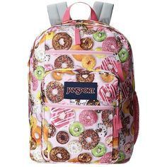 JanSport Big Student (Multi Donuts) Backpack Bags ($46) ❤ liked on Polyvore featuring bags, backpacks, jansport, jansport daypack, pink bag, polyester backpack and zip bags