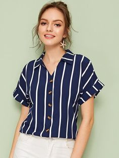 ROMWE affordable rolled cuff striped blouse in navy, the perfect top for Spring and Summer 2020 Romwe, Summer Shirts, Summer Blouses, Blue Blouse, Types Of Sleeves, Shirt Blouses, Blouses For Women, Fashion Outfits, Fashion Styles