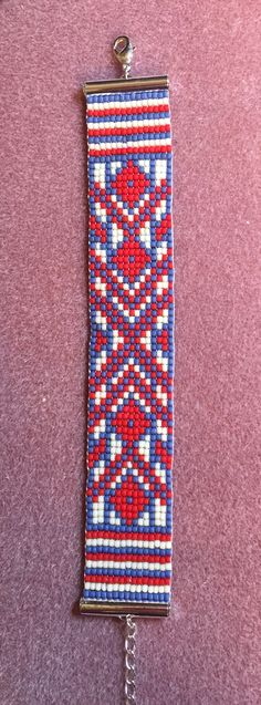 """The pattern came from Beadaholique, it's called """"Williamsburg Loom Bracelet"""". I am selling this beauty for $29.95. It will fit a size 6 1/2 to 7 wrists."""