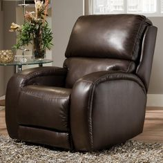Southern Motion Fandango Brown Leather Wall Hugger Recliner with Power Headrest Living Furniture, New Furniture, Furniture, Mattress Furniture, Fashion Room, Southern Motion, Recliner, Rocker Recliners, Living Room Furniture