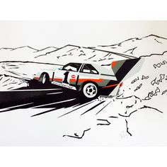 Hand cut vinyl car art. Audi Quattro S1, Pikes Peak.