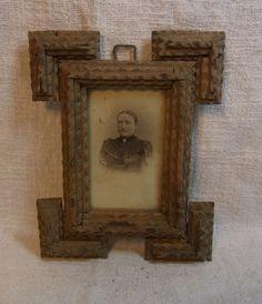 Antique German Carved Wood Tramp Art Picture Frame #K4