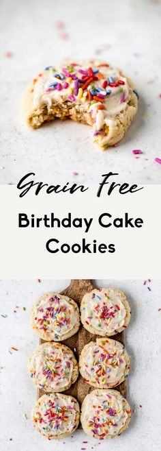 Incredible, soft grain free birthday cake cookies made with a mix of coconut and almond flour and topped with a luscious vanilla buttercream. These easy, healthy birthday cake cookies are gluten free and low carb but are full of that delicious birthday cake flavor you know and love. #cookies #birthday #birthdaycake #glutenfree #grainfree #glutenfreedessert #dairyfree #healthydessert Gluten Free Birthday Cake, Healthy Birthday Cakes, Birthday Cake Flavors, Cookie Cake Birthday, Cool Birthday Cakes, Healthy Cookie Recipes, Paleo Treats, Healthy Cookies, Baking Recipes