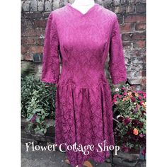 Vintage Drop Waisted 50s 60s Floral Brocade Dress Pale Raspberry Pink Size 14 | eBay