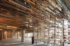 Nishi building in Canberra, Australia Stairway installation of reclaimed wood, by March Studios