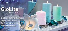 LED-Kerzensockel am besten mit unseren GloLite Pillarkerzen verwenden. So schimmern die bunten Farben am Besten durch den Körper der Kerze