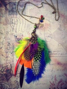 Colorful exotic necklace, Feather necklace, Gipsy Peacock neckalce, Boho Tribal necklace
