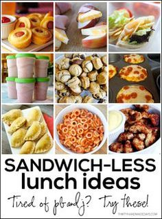 Mix it up with your kid's school lunches with these sandwichless lunch ideas. So many great ideas for lunch even I want to try! (smoothie recipes for kids picky eaters) Lunch Snacks, Lunch Recipes, Baby Food Recipes, Healthy Snacks, Healthy Eating, Cooking Recipes, Healthy Recipes, Kids Lunch For School, Lunch To Go