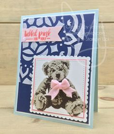 Tickled Pink | Stampin\' Up! | Baby Bear | Fabulous Flamingo #literallymyjoy #baby #congratulations #babyshower #babygirl #embossingpaste #FlirtyFlamingo #20172018AnnualCatalog