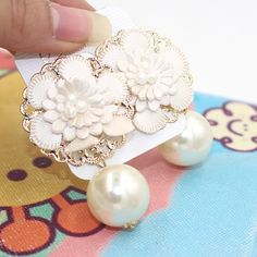 stud leather flower earrings statement 2017 ZHONGLV  Artificial pearl ZA long earrings for women Swing pendant earrings bijoux