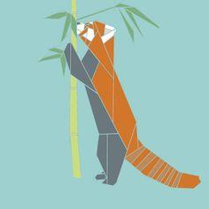 Red Panda w/Bamboo paper-piecing quilt pattern, PDF