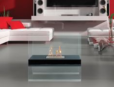 The Autry Fireplace is a sleek and modern fire feature that works well indoors and outdoors . It's a free standing so you can add it to any table or floor. that is level. Create an ambiance in your space with the Autry Fireplace. Click Here to purchase fuel for your fireplace! Black satin painted finish with tempere