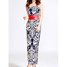 Sexy Strapless Printed High Fucal Bodycon With Belt Women's Dress