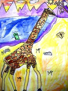 I'm a sucker for kid's art and giraffes are my favorite.  Frame it and hang it in a very important place in your home.  So cute.