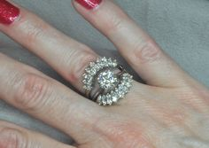 14K White Gold Diamond Ring Guard by LisaJJewelers on Etsy