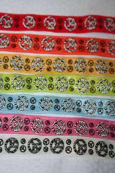 7 yards peace signs Foldover Elastic FOE DIY Hair Ties Headbands by LaceAndTrims, $10.50