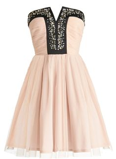 Ballet Slippers Dress: Features a padded and notched bodice covered in miniature pearl and faceted gem embellishments, gathered angelic chiffon skirt with tonal liner for full coverage, hidden tulle underlay for a tutu-like silhouette, and a centered rear zip closure to finish.