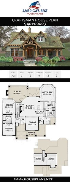 Bungalow Floor Plans, Cottage Floor Plans, Cottage Style House Plans, House Plans One Story, Craftsman House Plans, Small House Plans, Cottage Homes, Cottage Porch, Cottage Plan
