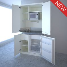 Hidden kitchen (kitchenette) in a cupboard for a tiny house, small space use in a studio flat.