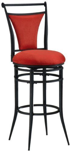 Hillsdale Cierra 26-Inch Swivel Counter Stool, Black finish with Flame Faux-Suede Fabric by Hillsdale Furniture. $121.13. Finished in black metal with flame (red) faux suede. Both contemporary and colorful. 360 degree swivel. The Cierra stools are both contemporary and colorful.  Available in black metal with flame (red), black, fawn (beige), bear (brown) or atmosphere (light green) faux suede seat colors.   Swivel stools are available in bar and counter height.