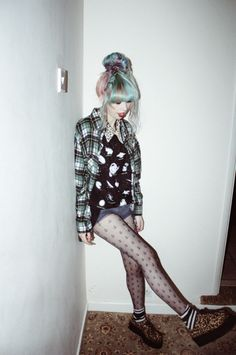 Love this. But not the shoes. Can someone buy me the tights though? Love.grunge fashion