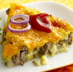 Cheeseburger Pie ♥for Isaiah little munchkin would eat this every night I keep him lol