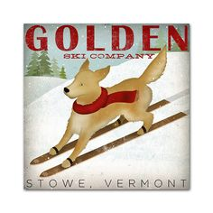 Made to Order GOLDEN Golden Retriever Ski Company Premium Archival Giclee PRINT 12 X 12 inches SIGNED