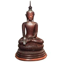 Huge Buddha Statue in Lacquer from the Region of Sham, Burma | From a unique collection of antique and modern sculptures and carvings at https://www.1stdibs.com/furniture/asian-art-furniture/sculptures-carvings/
