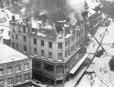 Hieronder ziet u een opname uit deze film over de brand uit 1938 van de V&D in 's-Hertogenbosch