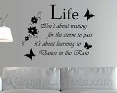 Dance in the #rain, family wall #sticker, inspirational #quote, flowers butterfli, View more on the LINK: http://www.zeppy.io/product/gb/2/121510337395/