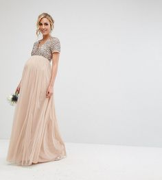 ASOS Maya Maternity V Neck Maxi Tulle Dress with Tonal Delicate Sequins maternity photoshoot dress bridesmaids dress blush pink gown Asos Maternity, Maternity Dresses For Photoshoot, Maternity Fashion, Tulle Bridesmaid Dress, Tulle Dress, Maternity Wedding Guests, Pregnant Wedding, Day Dresses, Wedding Dresses