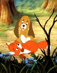 The Fox and the Hound.this movie always made me cry.my fav Disney movie! Disney Animation, Disney Pixar, Disney Amor, Disney Dogs, Disney Films, Disney And Dreamworks, Disney Magic, Disney Characters, Animation Movies