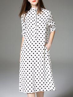 White Printed Polka Dots Girly Shirt Dress - AdoreWe.com