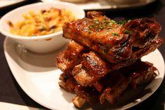 BBQ Pork Rib Stack with cherry Coca Cola BBQ sauce and artisan Mac & Cheese at CineBistro.