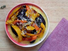 creamy cheese polenta with grilled veggies