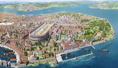 Constantinople- the capital of the eastern Roman empire; capital of the Byzantine and Ottoman empires, now called Istanbul. Architecture Byzantine, Roman Architecture, Ancient Architecture, Byzantine Empire Map, Roman City, Medieval World, Roman History, Hagia Sophia, City Maps