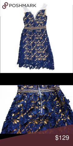 Guipure Lace dress with exposed back zipper Sleeveless lace dress with stretch mesh lining and center back exposed zipper. The lace fabric is a beautiful cutout lace overlay in Cotton fabric. Dresses