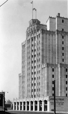 #ArtDeco | American Storage Building, Beverly Boulevard, Los Angeles, circa 1929. Designed by Arthur E. Harvey.