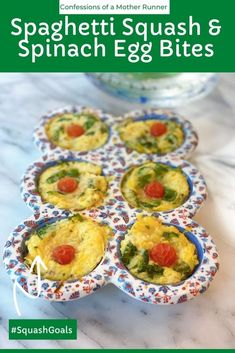 Spaghetti squash, spinach and egg bites Breakfast inspiration. Mix up your #Breakfast game w this #MakeAhead #LowCarb #HighProtein #spaghettiSquash #MuffinPan #Eggs #HealthyBreakfast #FamilyFriendly Vegan Breakfast Recipes, Vegan Recipes, Easy Recipes, Delicious Recipes, Spinach Egg, Spinach And Cheese, Clean Eating Breakfast, Perfect Breakfast, Runners Food