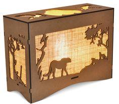 Animal Bush Scene Lamps created in SA, Rhinocerous, Lion, Cheetah, Giraffe, Elephant. Giraffe, Elephant, Cheetah, Lamps, Lion, Arts And Crafts, Scene, Animals, Wood