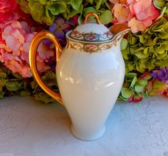 Beautiful Vintage Limoges Porcelain Chocolate Pot ~ Pink Floral ~ Gold Gild #Limoges