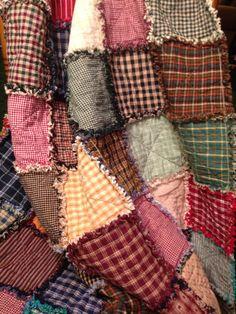 Homespun and Cotton Rag Quilt ~ Beautiful Primitive Look Homemade