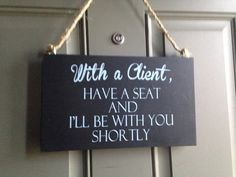 NEW With a Client wood sign with hanger, business sign, shop sign, door sign on Etsy, $17.00